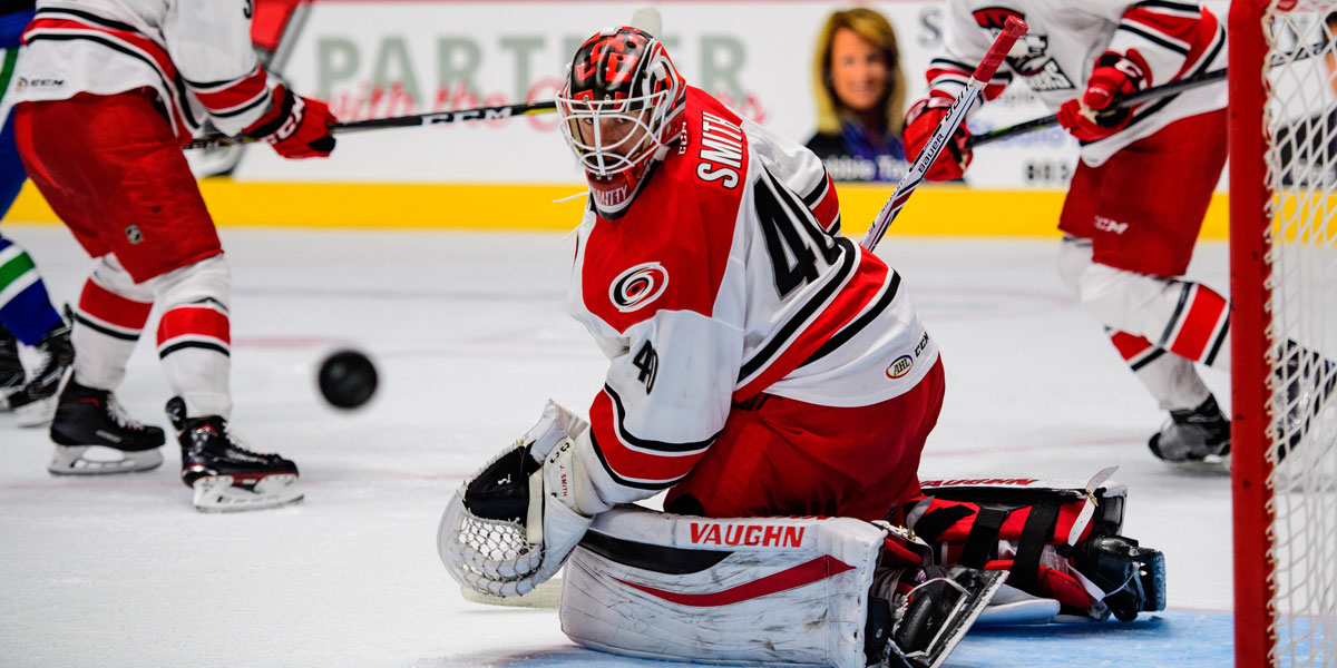 Charlotte Checkers goalie Jeremy Smith